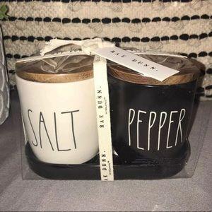 Rae Dunn Black/White Salt & Pepper Cellars in Dish